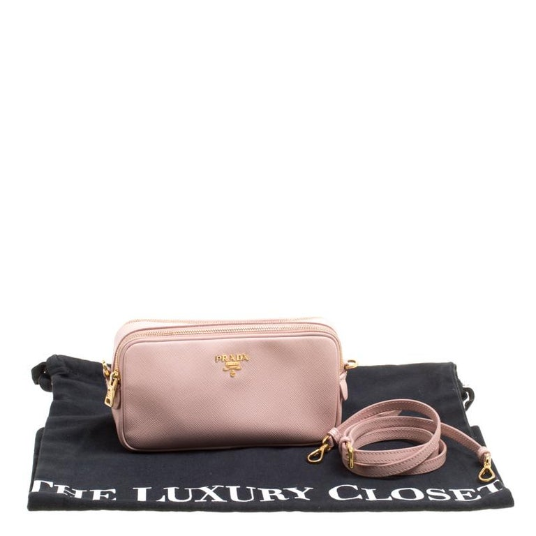 Prada Blush Pink Saffiano Lux Leather Camera Crossbody Bag 6