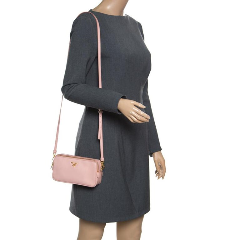 Beige Prada Blush Pink Saffiano Lux Leather Camera Crossbody Bag