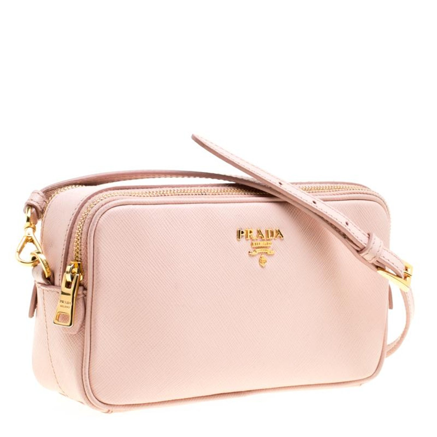 c8d66661047a98 Prada Blush Pink Saffiano Lux Leather Camera Crossbody Bag For Sale at  1stdibs