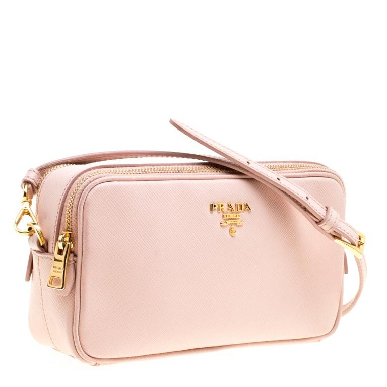 021d3cf32a6e Prada Blush Pink Saffiano Lux Leather Camera Crossbody Bag In Good  Condition For Sale In Dubai