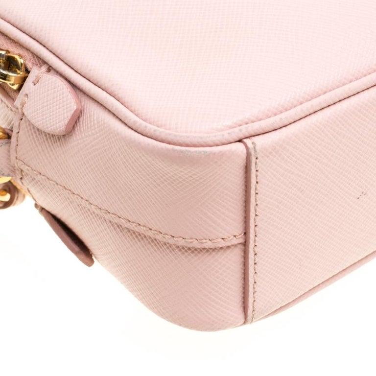 Prada Blush Pink Saffiano Lux Leather Camera Crossbody Bag In Good Condition In Dubai, Al Qouz 2