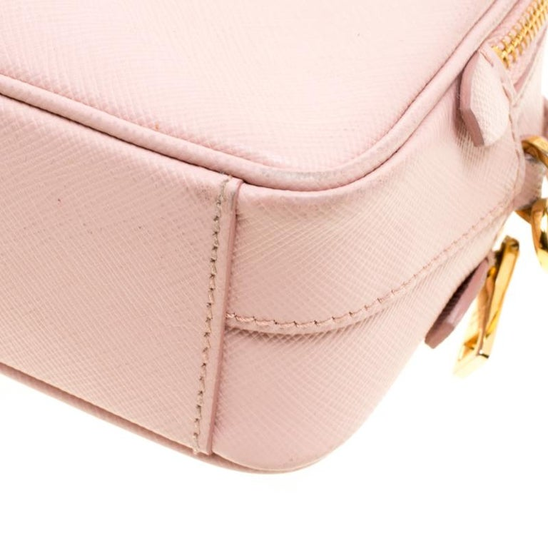 Women's Prada Blush Pink Saffiano Lux Leather Camera Crossbody Bag