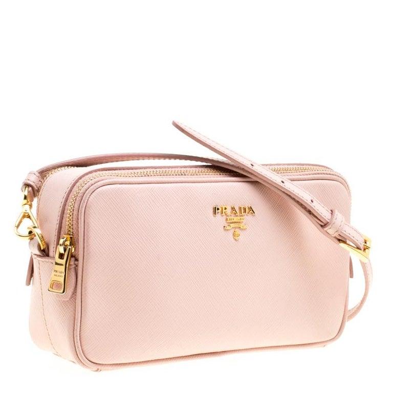 Prada Blush Pink Saffiano Lux Leather Camera Crossbody Bag 1
