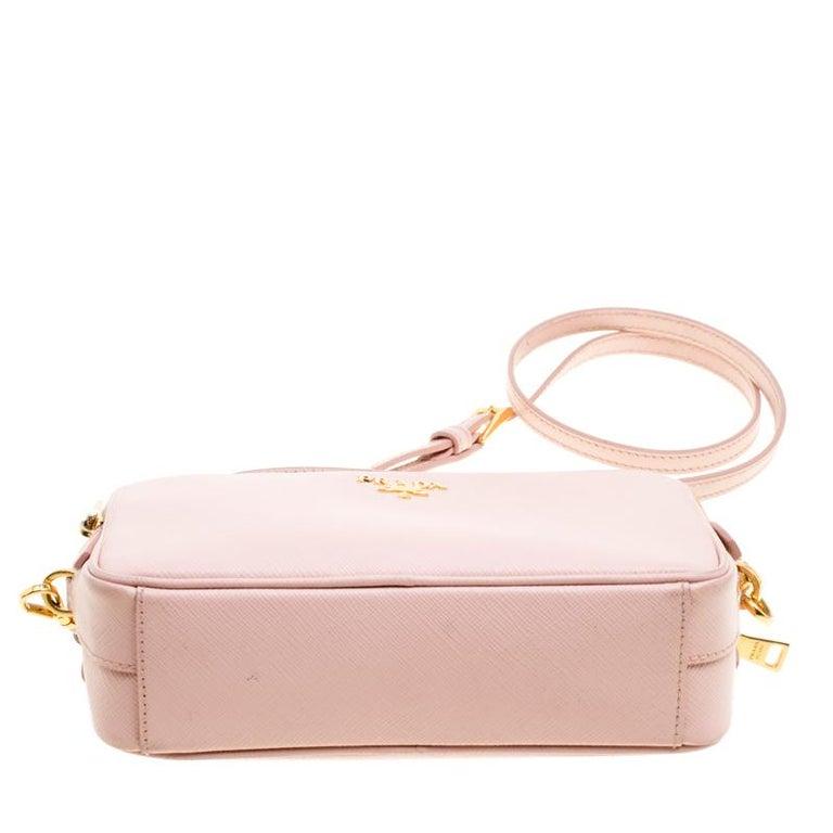 Prada Blush Pink Saffiano Lux Leather Camera Crossbody Bag 3