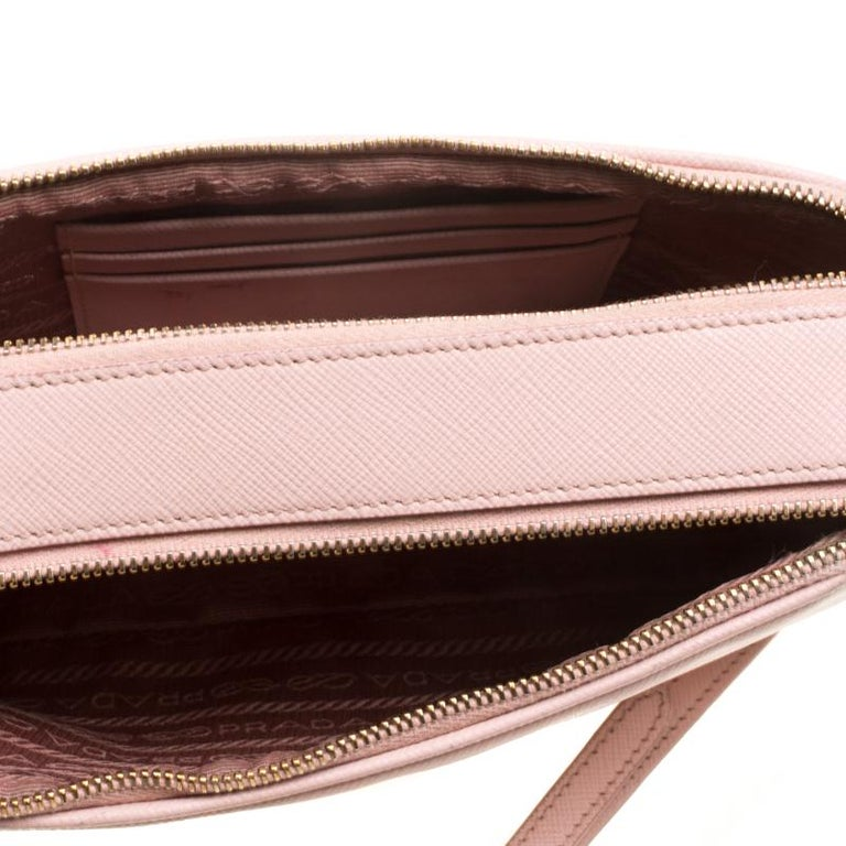 Prada Blush Pink Saffiano Lux Leather Camera Crossbody Bag 4