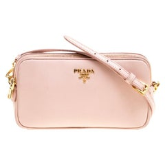 Prada Blush Pink Saffiano Lux Leather Camera Crossbody Bag
