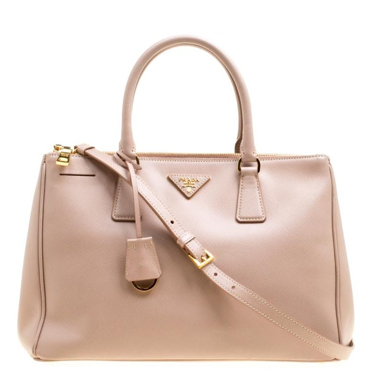 49b3cf420410 Prada Blush Pink Saffiano Lux Leather Medium Double Zip Tote at 1stdibs