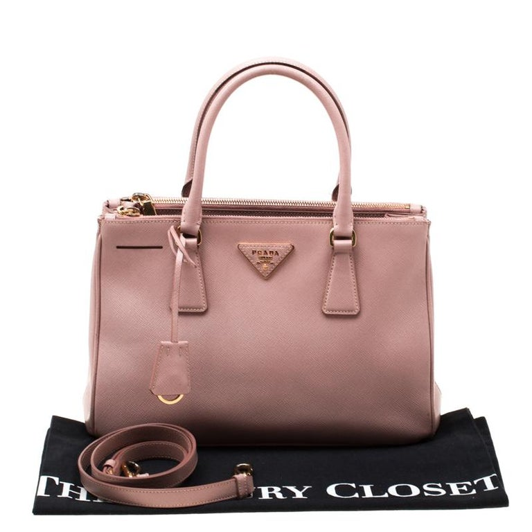 Prada Blush Pink Saffiano Lux Leather Small Double Zip Tote For Sale 7