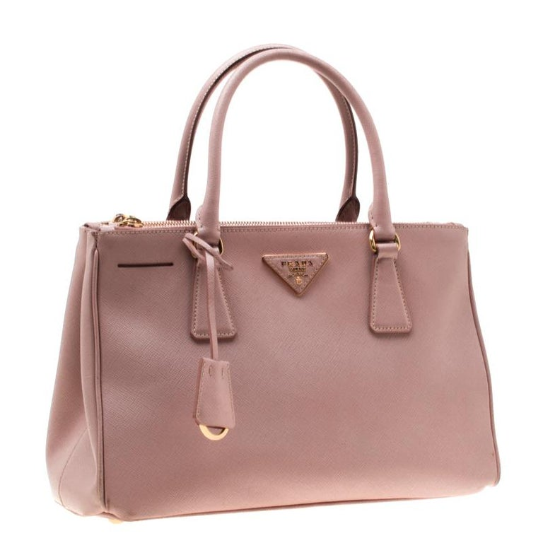 Women's Prada Blush Pink Saffiano Lux Leather Small Double Zip Tote For Sale