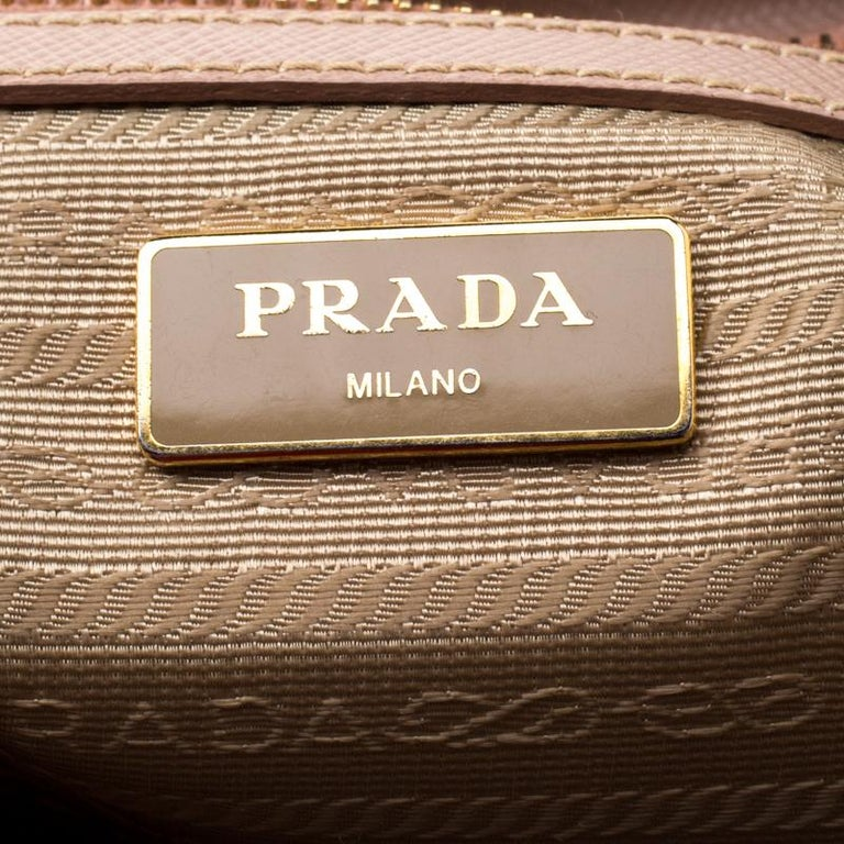 Prada Blush Pink Saffiano Lux Leather Small Double Zip Tote For Sale 3