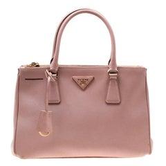 Prada Blush Pink Saffiano Lux Leather Small Double Zip Tote