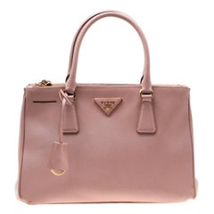 Prada Blush Pink Saffiano Lux Leather Small Double Zip Tote
