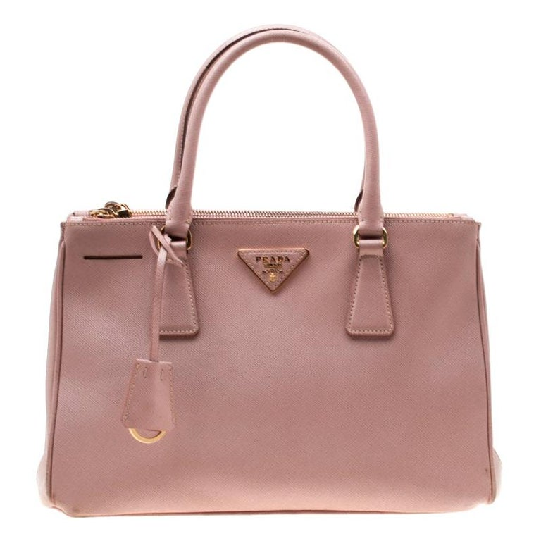 Prada Blush Pink Saffiano Lux Leather Small Double Zip Tote For Sale