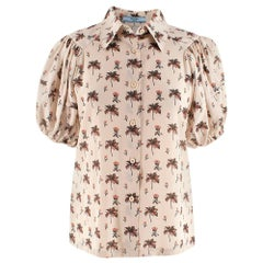 Prada Blush Silk Printed Puffed Sleeve Blouse - Size IT38