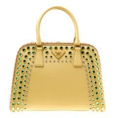 Prada Blush Yellow/Brown Saffiano Lux Leather Pyramid Frame Top Handle Bag