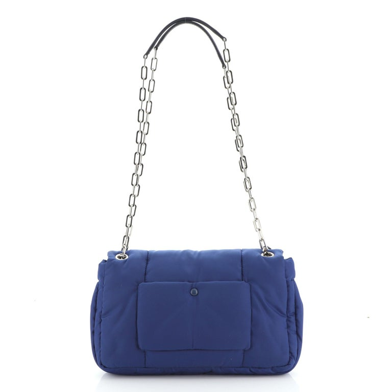Prada Bomber Chain Flap Bag Tessuto Medium In Good Condition For Sale In New York, NY