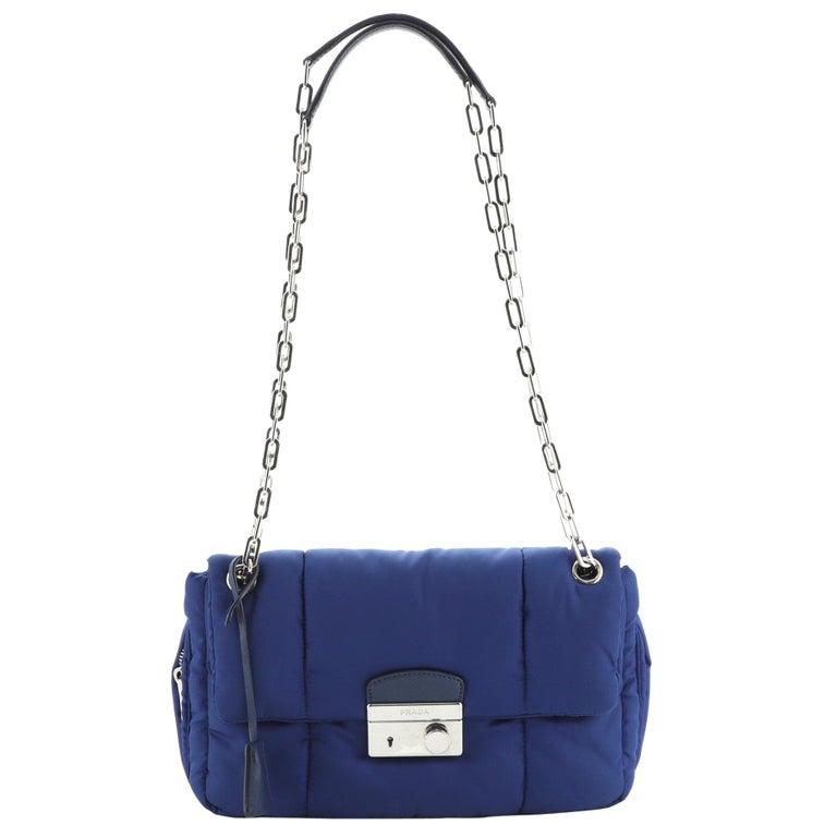 Prada Bomber Chain Flap Bag Tessuto Medium For Sale