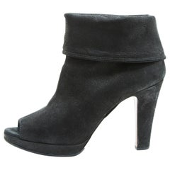 Prada Boots In Black Grained Leather Size 39.5