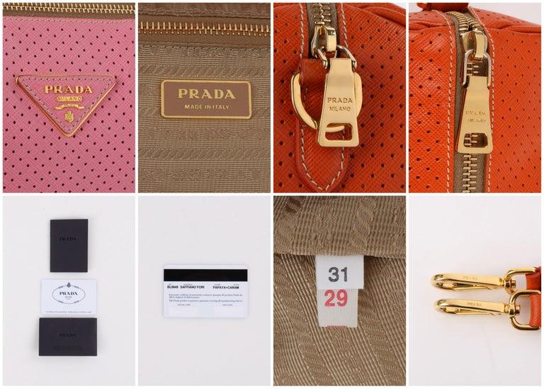 PRADA Boston Papaya Caramel Pink Saffiano Fori Perforated Satchel Shoulder Bag For Sale 7