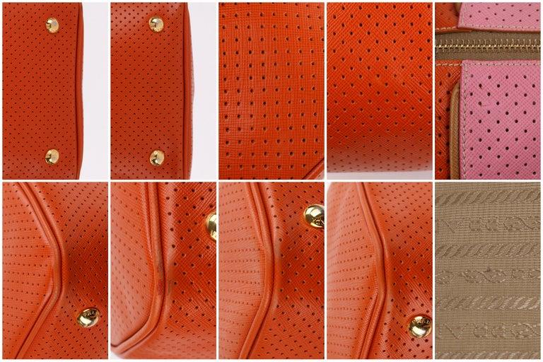 PRADA Boston Papaya Caramel Pink Saffiano Fori Perforated Satchel Shoulder Bag For Sale 8