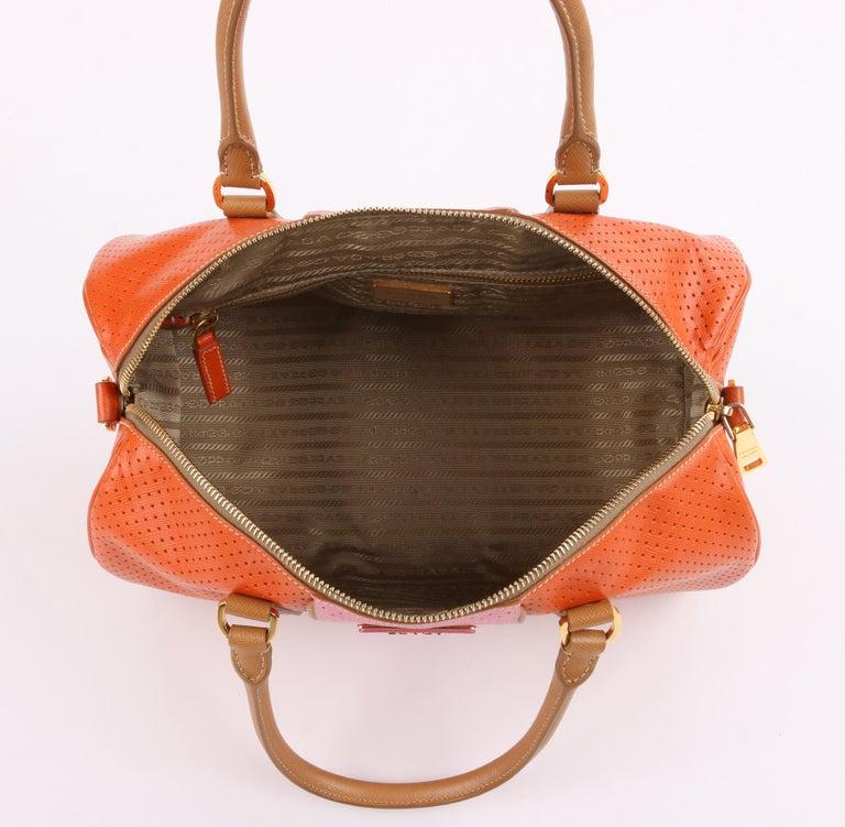PRADA Boston Papaya Caramel Pink Saffiano Fori Perforated Satchel Shoulder Bag For Sale 1