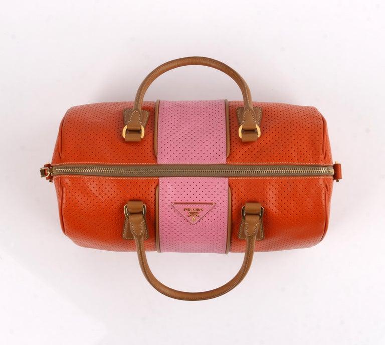 PRADA Boston Papaya Caramel Pink Saffiano Fori Perforated Satchel Shoulder Bag For Sale 2