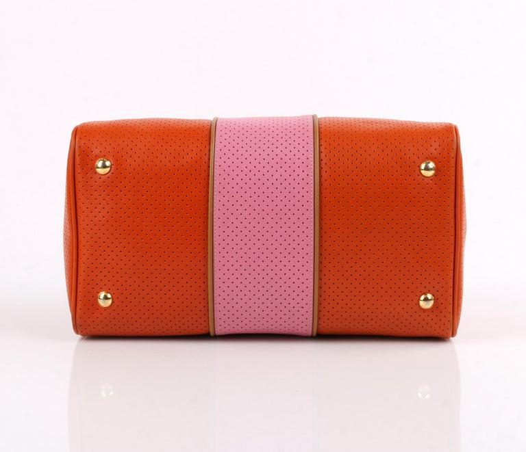 PRADA Boston Papaya Caramel Pink Saffiano Fori Perforated Satchel Shoulder Bag For Sale 3