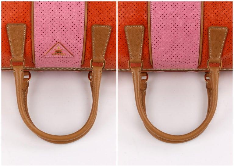 PRADA Boston Papaya Caramel Pink Saffiano Fori Perforated Satchel Shoulder Bag For Sale 6