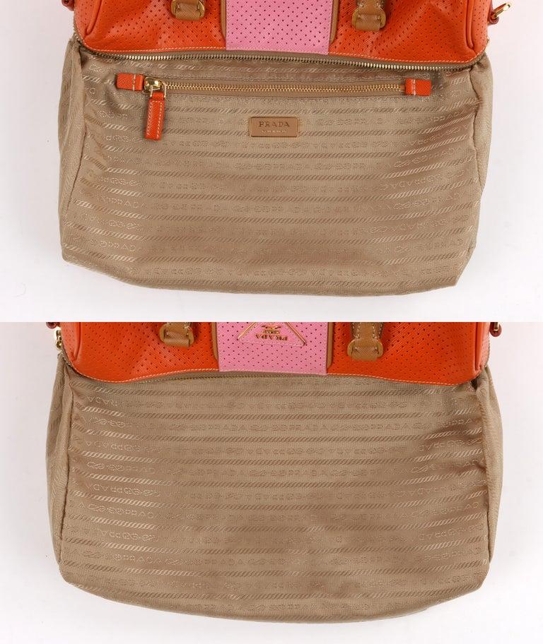 PRADA Boston Papaya Caramel Pink Saffiano Fori Perforated Satchel Shoulder Bag For Sale 5