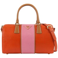 PRADA Boston Papaya Caramel Pink Saffiano Fori Perforated Satchel Shoulder Bag