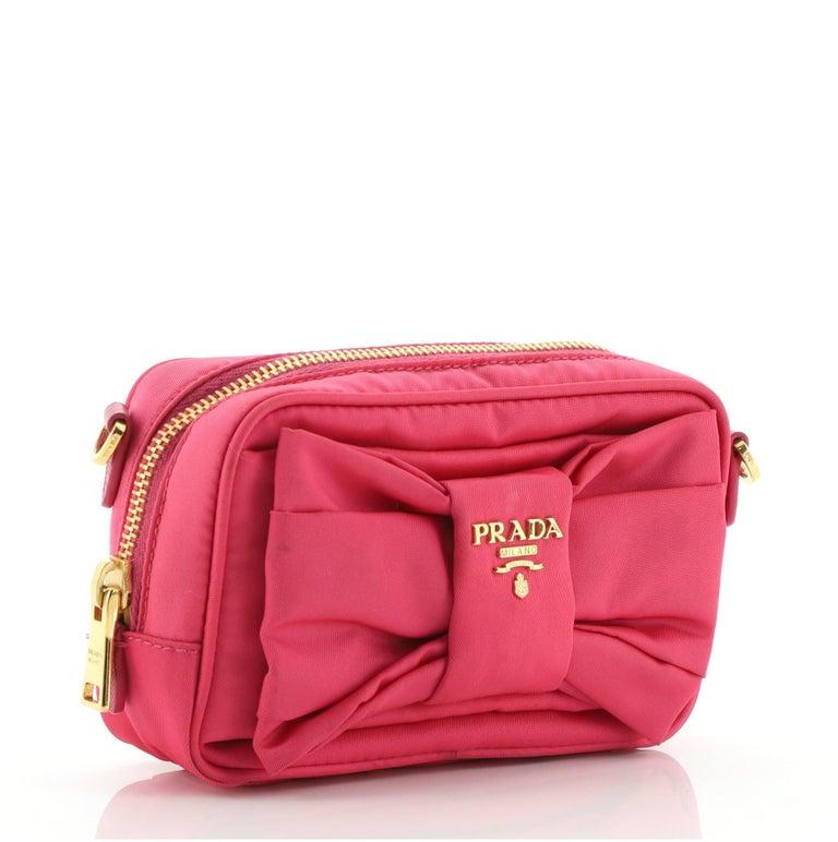 Red Prada Bow Camera Crossbody Bag Tessuto Small