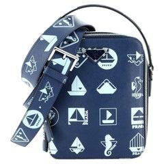 Prada Brique Crossbody Bag Printed Saffiano Leather Medium