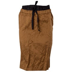 PRADA bronze brown cotton & metal Pencil Skirt 38 XS
