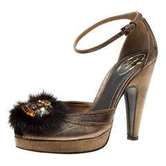 Prada Bronze Leather Crystal Embellished Ankle Strap Peep Toe Pumps Size 38