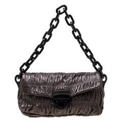 Prada Bronze Leather Gaufre Chain Shoulder Bag