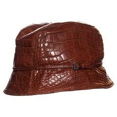 Prada brown alligator bucket hat, fw 2003