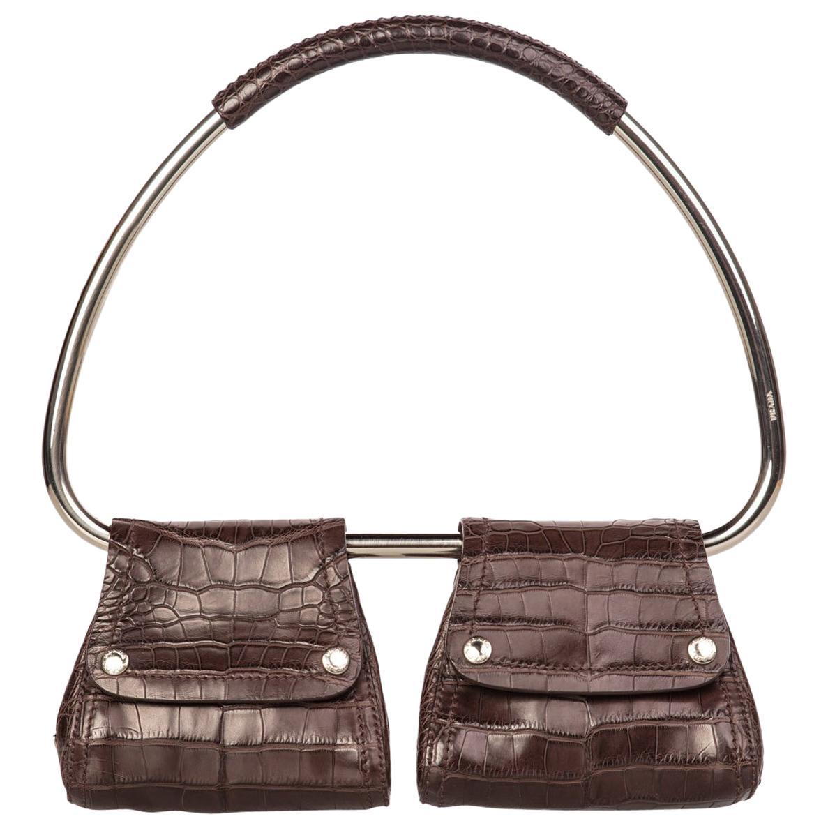 Prada Brown Alligator Embossed Silver Hoop Bag, 2000