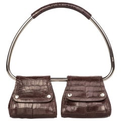 Prada Brown Alligator Silver Hoop Bag, 2000
