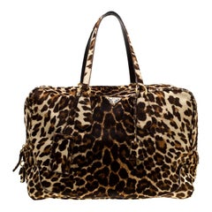 Prada Brown Animal Print Calf Hair Weekender Bag