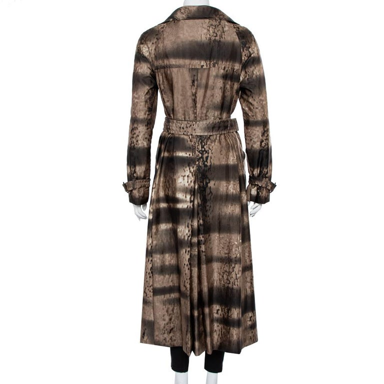 Black Prada Brown Animal Printed Synthetic Belted Double Breasted Trench Coat M For Sale