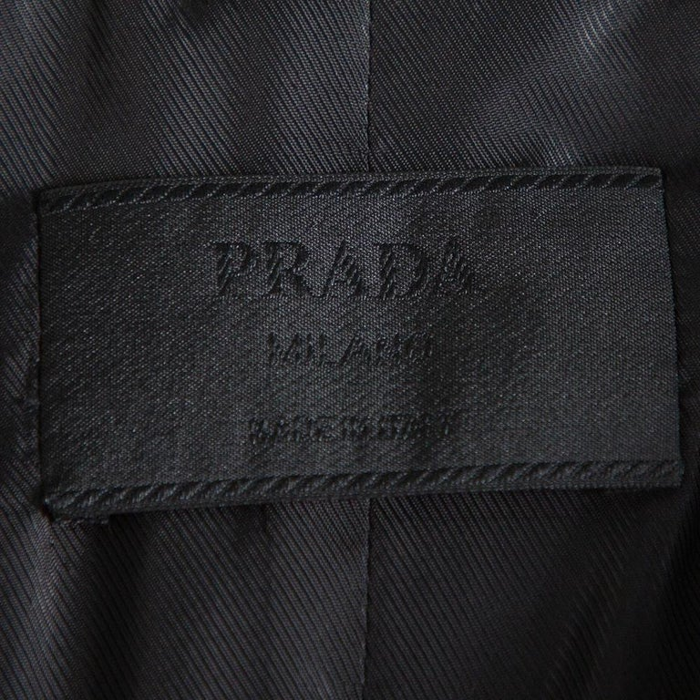 Prada Brown Animal Printed Synthetic Belted Double Breasted Trench Coat M In Excellent Condition For Sale In Dubai, Al Qouz 2