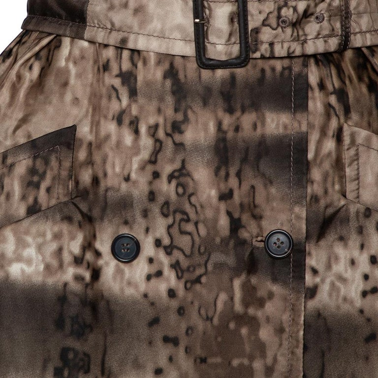Women's Prada Brown Animal Printed Synthetic Belted Double Breasted Trench Coat M For Sale