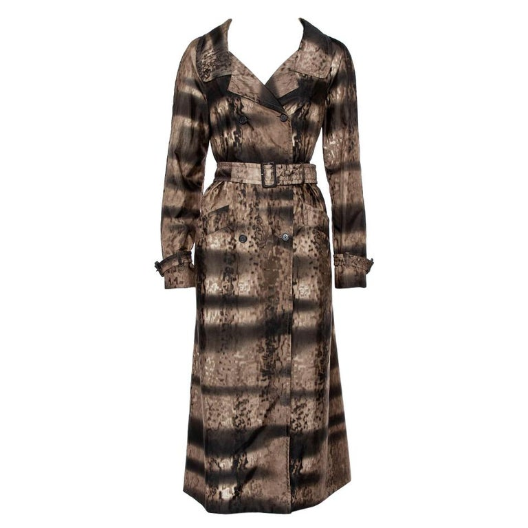 Prada Brown Animal Printed Synthetic Belted Double Breasted Trench Coat M For Sale