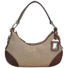 Prada Brown Beige Canvas Fabric Canapa Shoulder Bag Italy