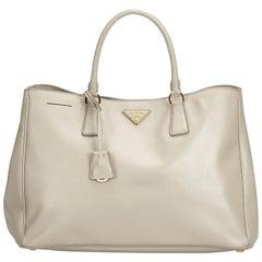 Prada Brown Beige Leather Saffiano Galleria Handbag Italy w/ Authenticity Card