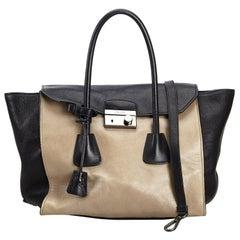 Prada Brown Beige Leather Satchel Italy