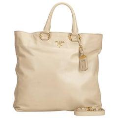Prada Brown Beige Leather Vitello Daino Tote Bag Italy w/ Dust Bag