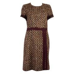 PRADA brown & beige wool TWEED BELTED Short Sleeve Dress 42