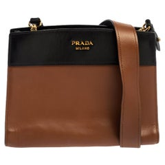Prada Brown/Black Leather Messenger Bag