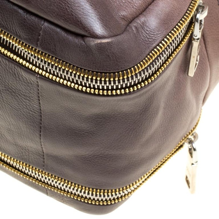 Prada Brown/Black Ombre Glace Leather Zippers Bauletto Bag For Sale 6